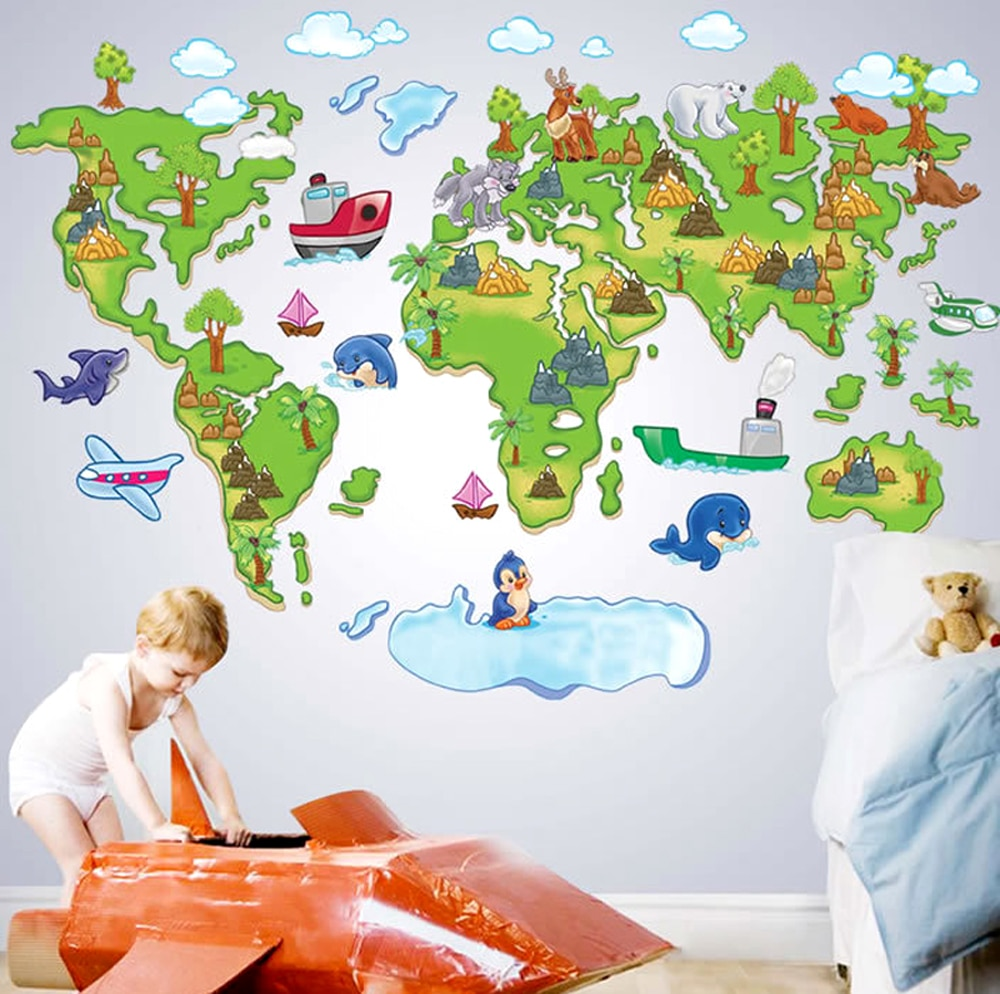 Europe Style Creative Cartoon World Map DIY Removable Wall Stickers Ki