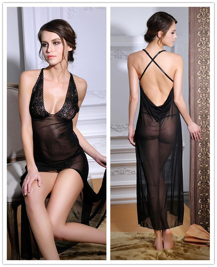 Europe Style Lace Beauty Back Long Dress + Panties (Black)