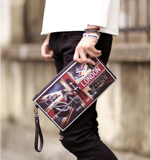 European and American men and women M word rivets clutch bag