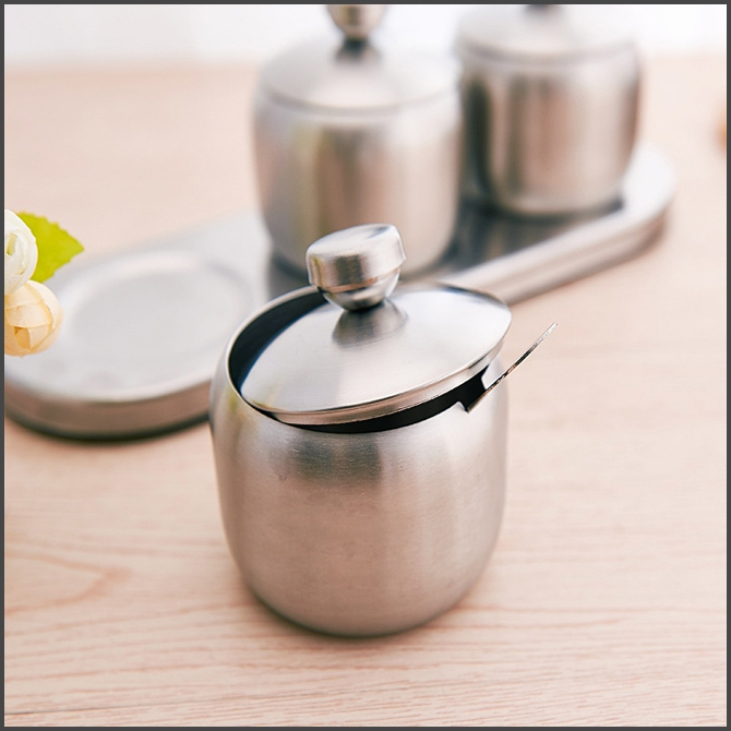 European Stainless Steel 304 Seasoning Box Jar Set