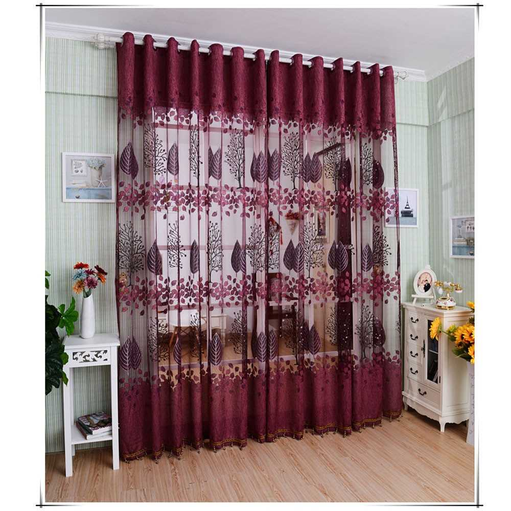 European Top-grade Leaves Pattern Half Shading Burnt-out Curtain for
