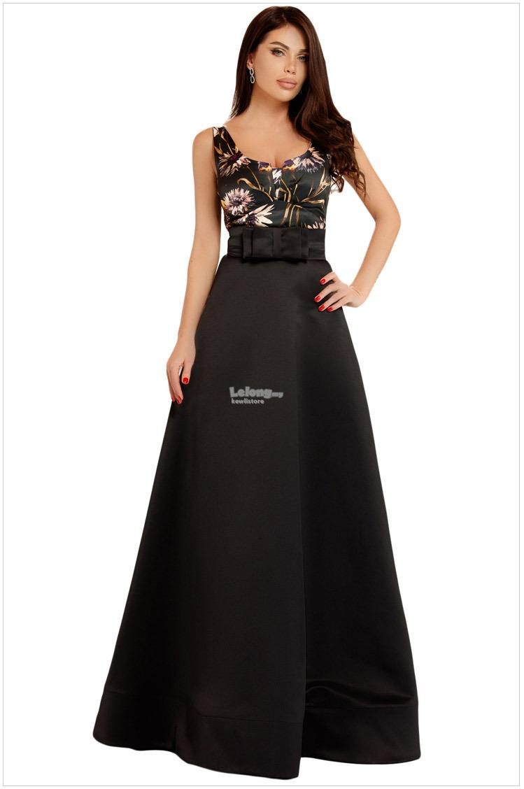 European version with belt printed sling dress maxi dress