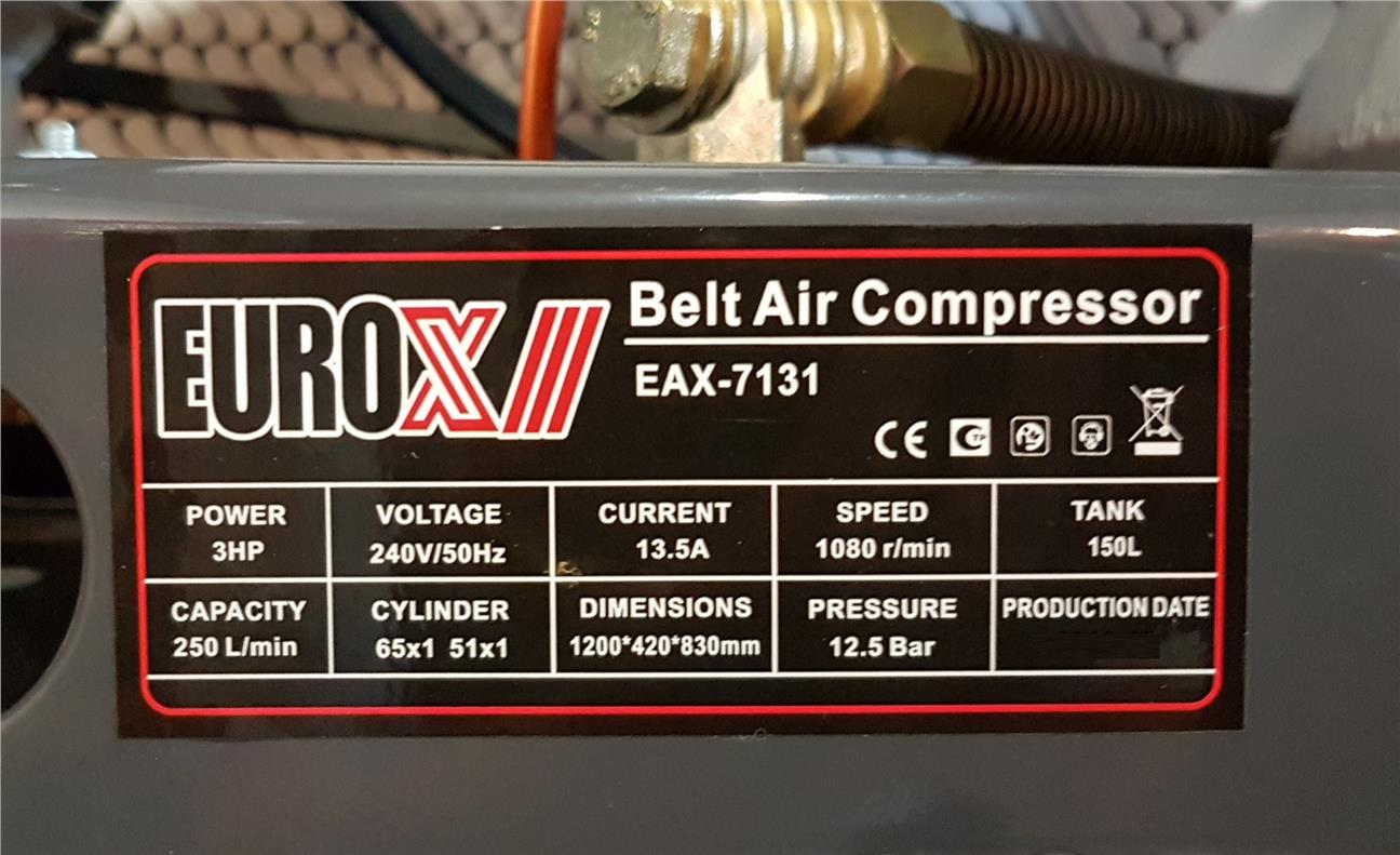 Eurox EAX-7131 Air Compressor 3hp 150litre 12bar ID30971