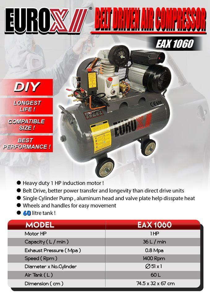 Eurox EAX1060 1HP 60Liter Belt Driven Air Compressor
