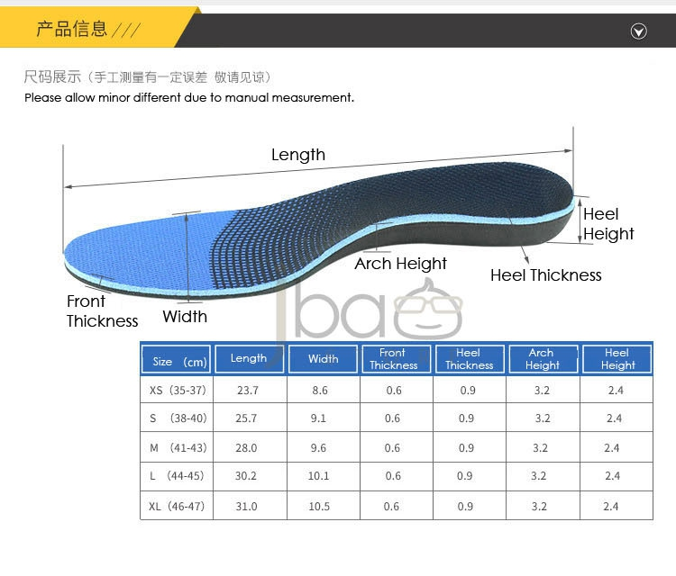 EVA Orthotic Arch Support Flatfoot Insole Knock knee Posture Corrector Full Le