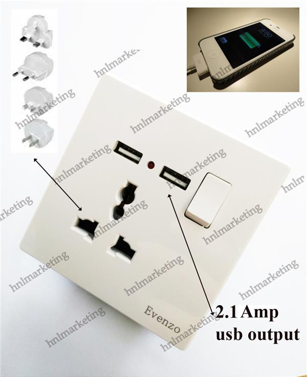 EVENZO 13A SWITCH SOCKET WITH USB @ 3 PIN MULTI SOCKET