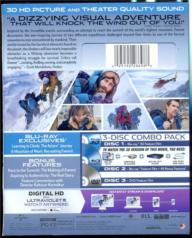 Everest Blu-Ray 3D + Blu-Ray + DVD - New Blu-Ray