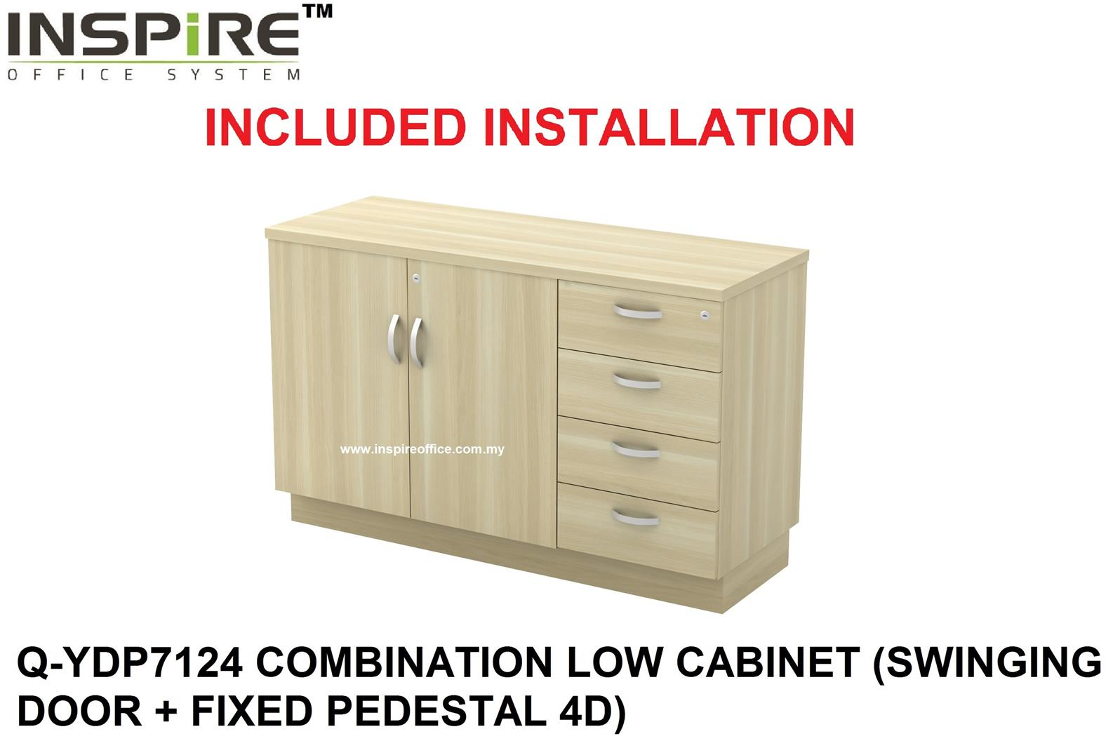 EXORA SERIES Q-YDP7124 LOW CABINET (SWINGING DOOR + FIXED PEDESTAL 4D)
