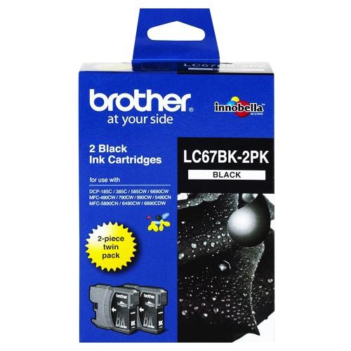 Expired Brother LC67BK-2PK, LC67 (Twin Black) 385C 395CN 5490CN 5890CN