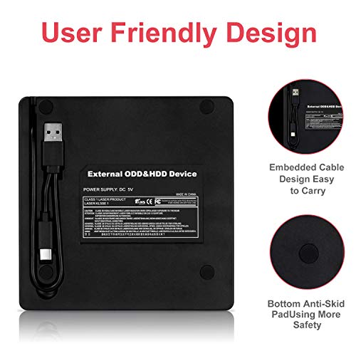 External DVD CD Drive USB3.0 Type C with SD/TF Card Reader Portable Disk Burne