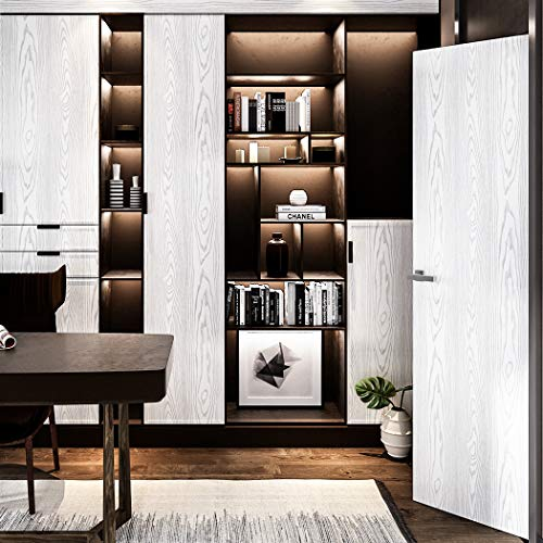 Extra Thick Silver White Wood Grain Peel and Stick Wallpaper for Bedroom Livin
