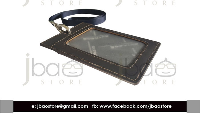 Extreme Leather ID Name Access Card holder with Lanyard RS212-3 (Dark Brown)