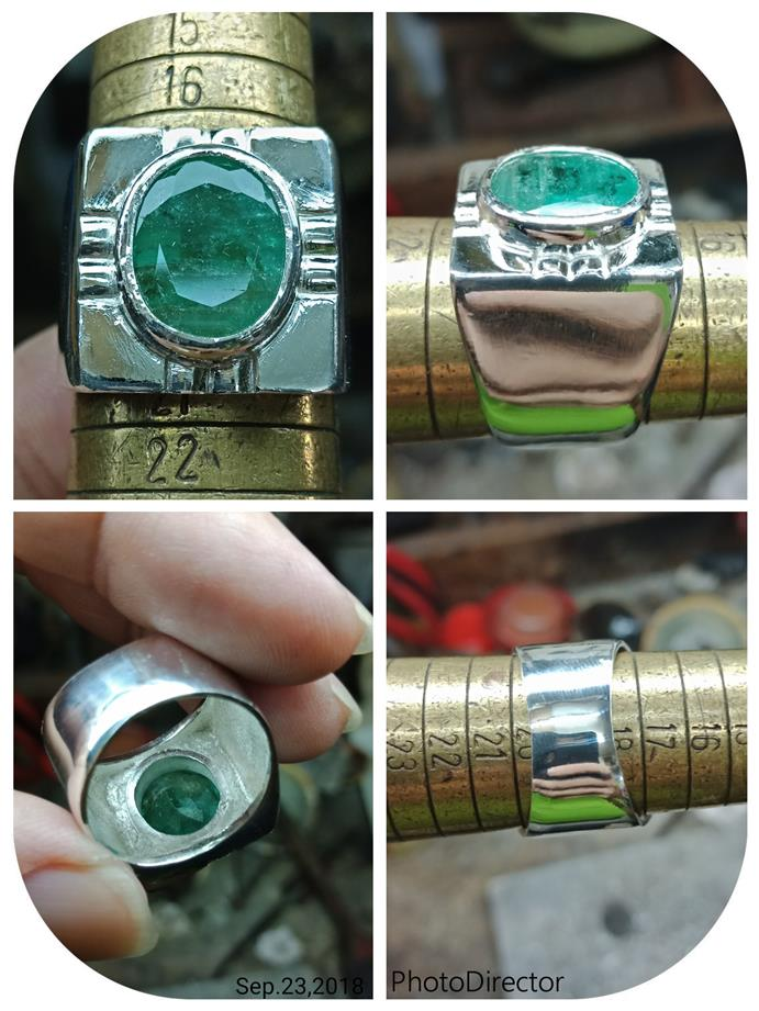 Eye catching hand made faceted Emerald pure silver man's ring 14.2g