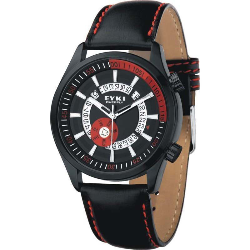 Eyki Overfly W8453 Date Display Stainless Steel Leather Men Watch - 3 Colors