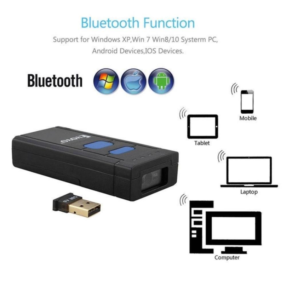 Eyoyo Mini Portable Bluetooth Wireless 2D QR Barcode Scanner Scan Mobi