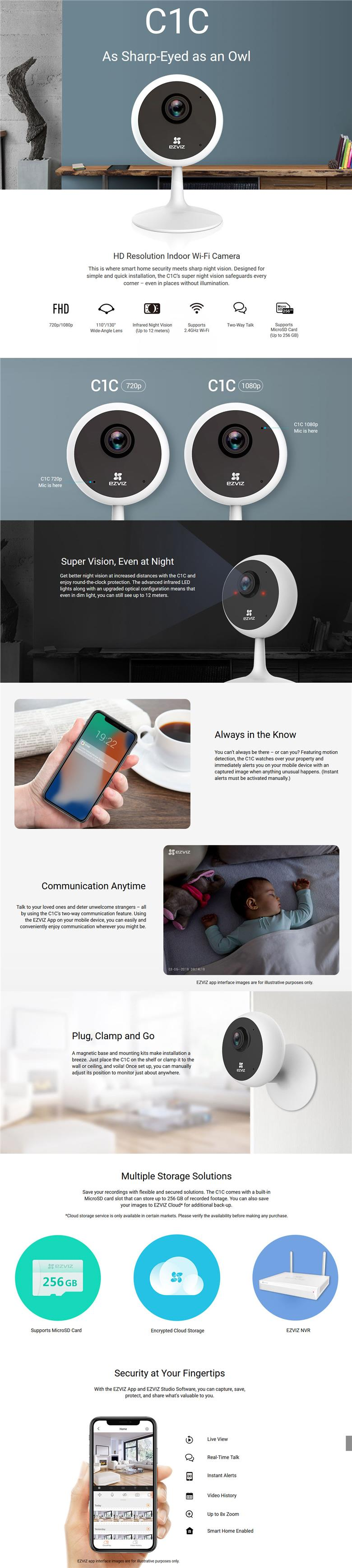 EZVIZ C1C 720P HD HOME INDOOR WI-FI CCTV IP SECURITY CAMERA