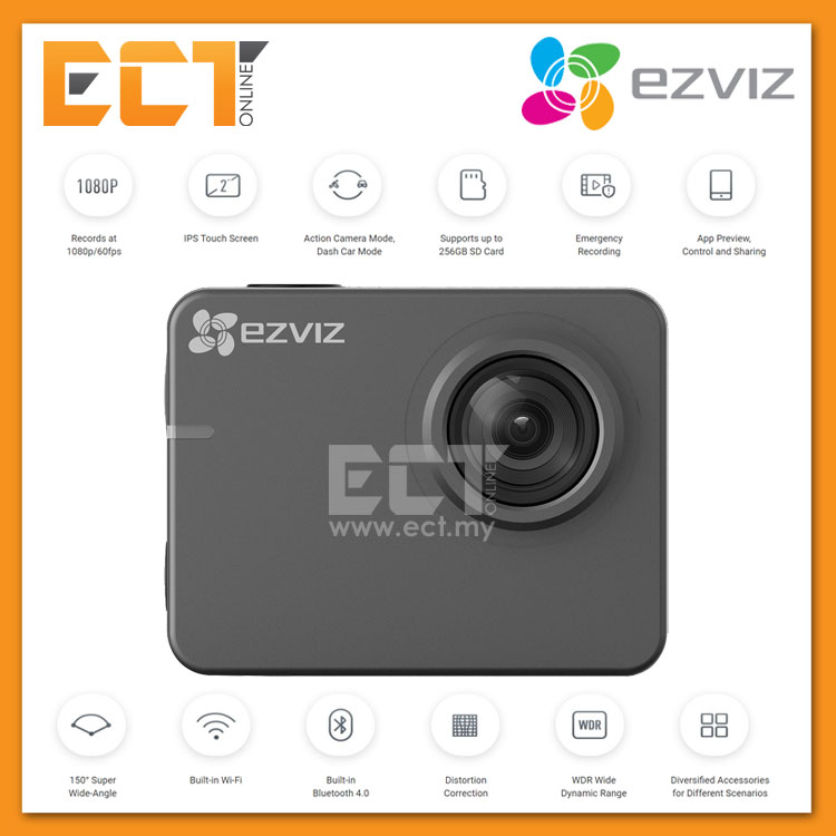 Ezviz S2 2-In-1 8MP 1080P 60FPS WiFi Waterproof Action/Dash Camera