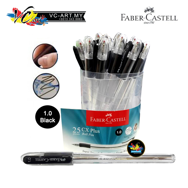 Faber-Castell CX Plus Ball Pen (Black) 1.0mm - Drum of 25pcs