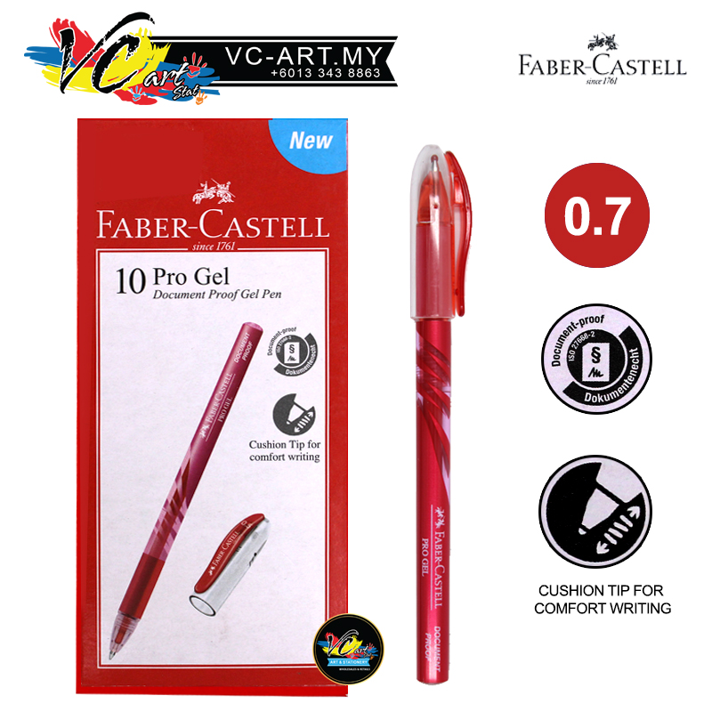 Faber-Castell Pro Gel Pen 0.7mm, Box of 10pcs (Red)