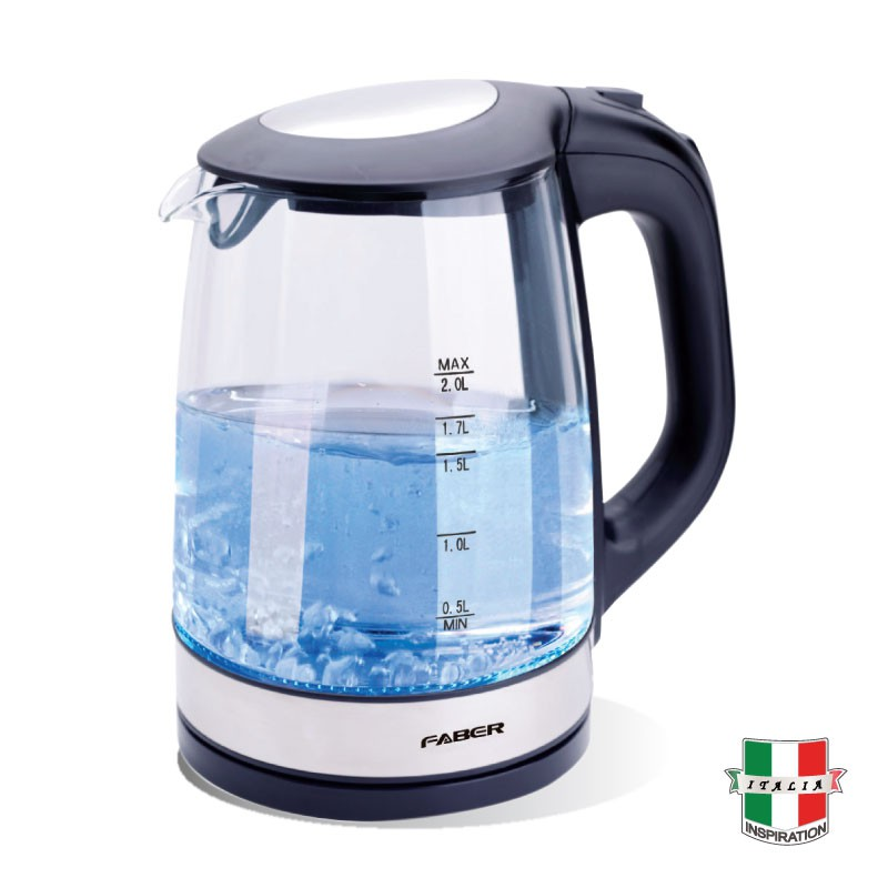FABER Glass Jug Kettle FCK Cristallo 180BK (2.0L) Hot Water Boiler