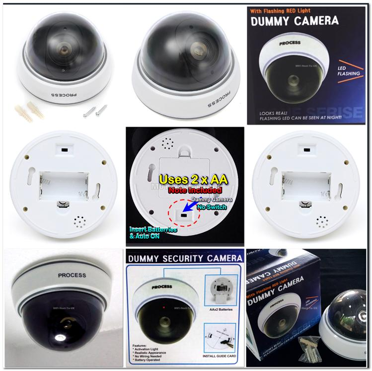 Fake Dome Dummy Security CCTV Home Camera KAMERA CAM LED BLACK #9909