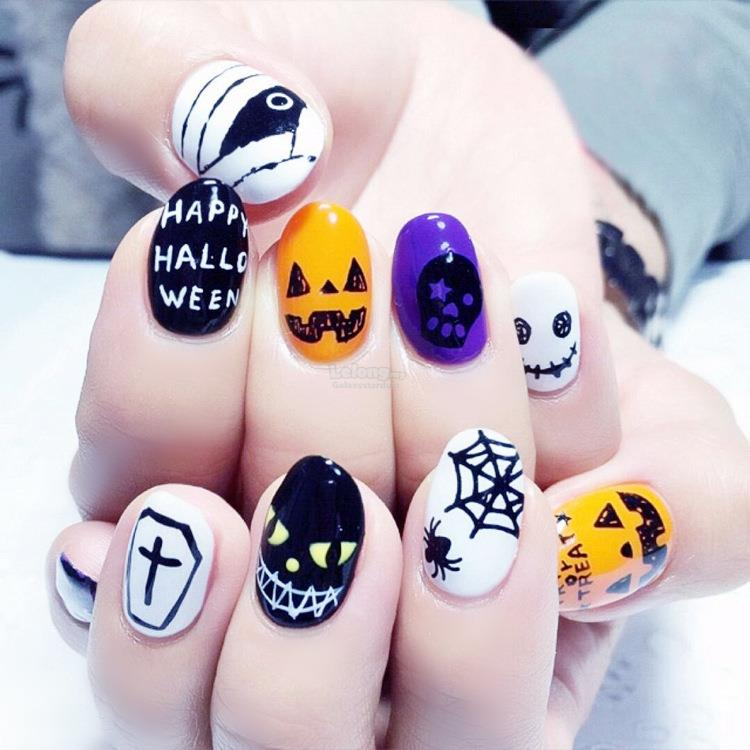Fake Nails 24 Pieces Cute Cartoon,Anime Themed,Fashion Brand Inspired