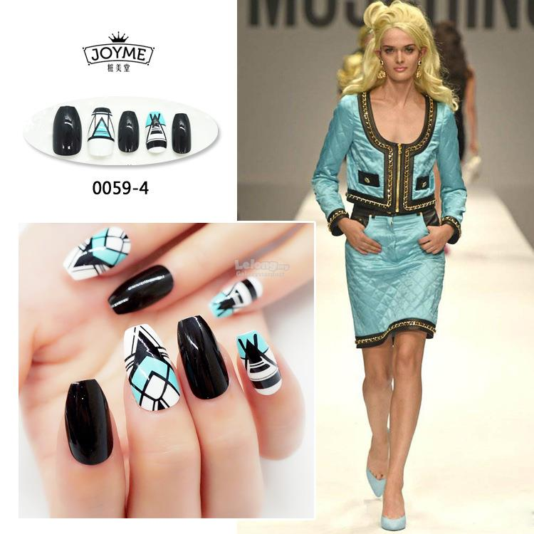 False 24 Nail Tips,HAWT Trend Coffin Ballerina Squoval Long Artistic
