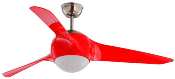 Fanco 54 Inch Remote Ceiling Fan With Led Light Globe Red