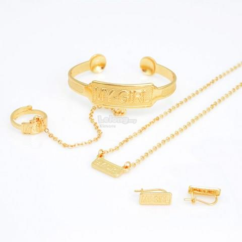 Fashion Alloy Gold Children Jewelry Sets
