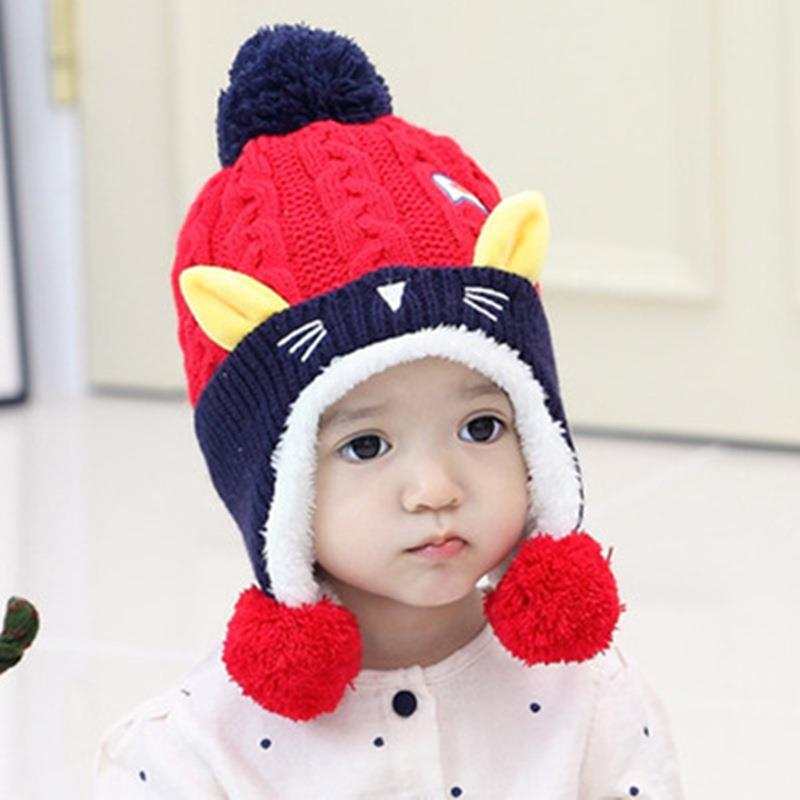 5746231178d New Fashion Baby s Cute Cat Shape Knitted Hat Winter Warm Children Cap. ‹ ›