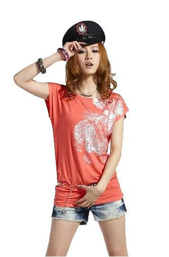 Fashion Casual And Soft Long Tee T Shirt Short Sleeve with Floral Prin..