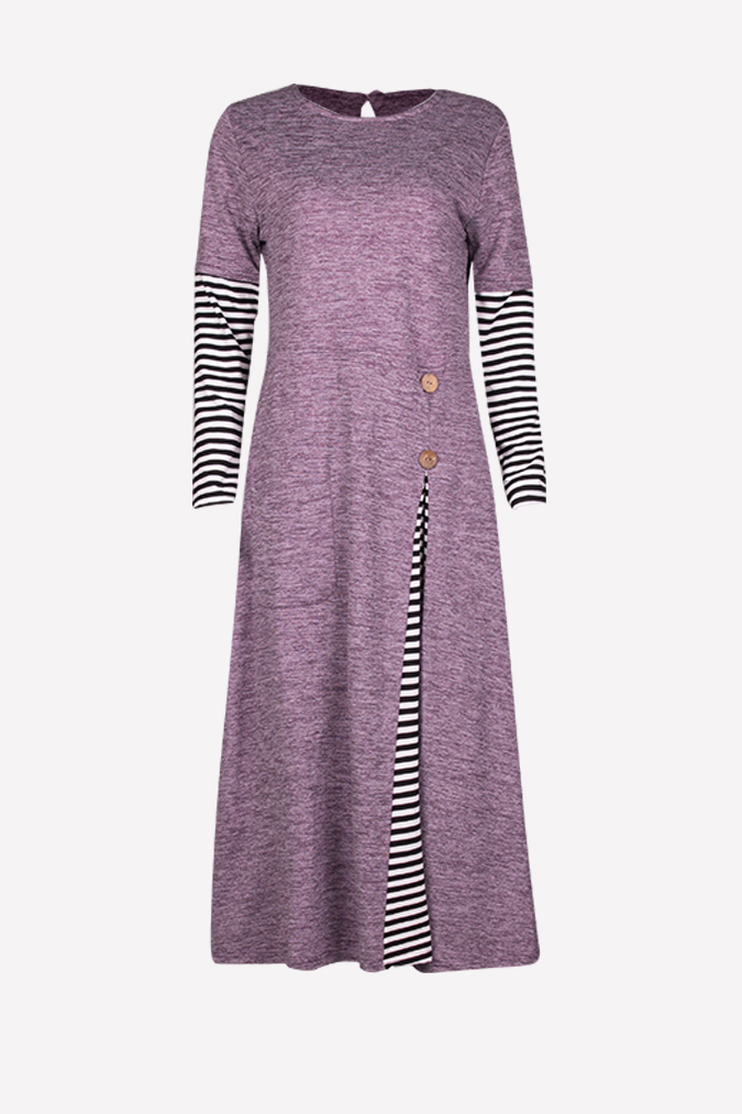 Fashion Classic Side Pleated Modern Jubah Dress Half Stripe Sleeve