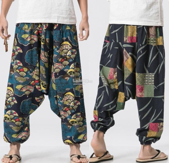 Fashion Cotton Flax Loose Printed Trousers Pants Half Sarung #56845