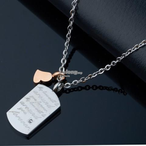 Fashion Elegant Lovers Engravable Diamond Dog Tag Necklace