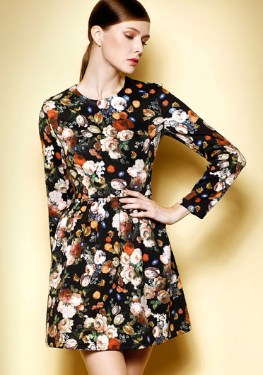 Fashion Floral Design Lady Mini Dress