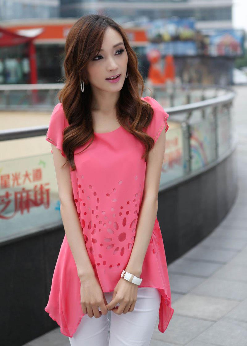 Fashion Korean Round Neck Solid Diamond Chiffon Shirt