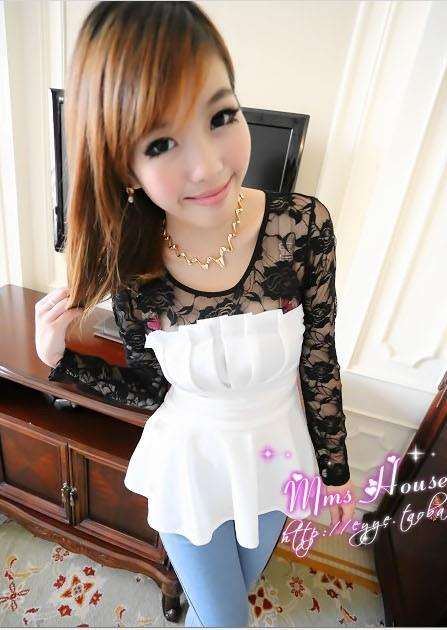 Fashion Lace Plated Show-slim Blouse (White)