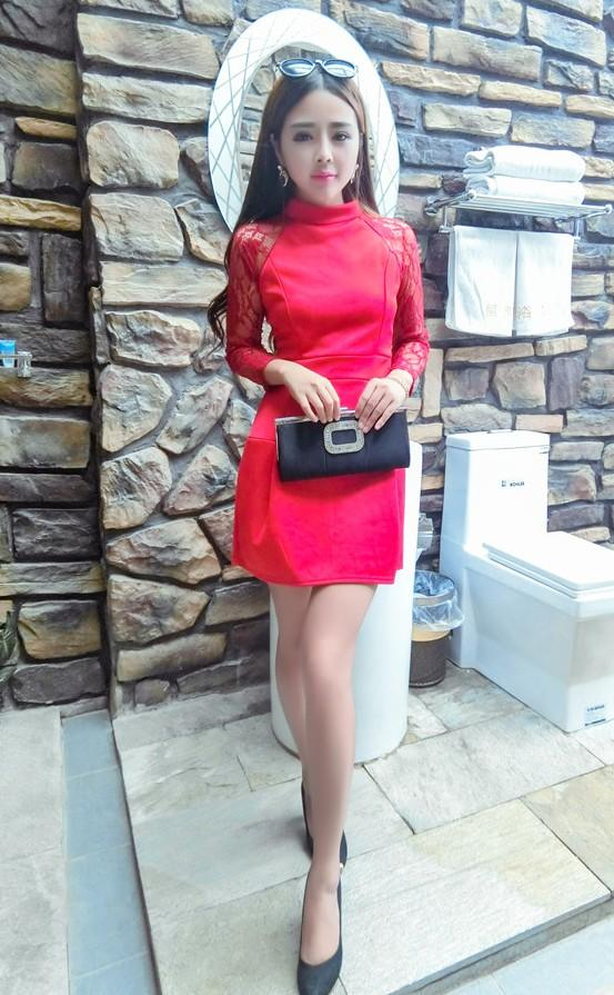 Fashion Lace Space Cotton Dress (Red)