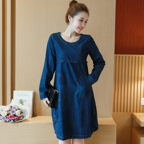 b674cbdd747 FASHION LONG SLEEVE DENIM DRESS BLUE (end 8 18 2020 1 06 PM)