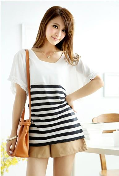 Fashion Loose Flounce-Sleeve Stripe Blouse (White)