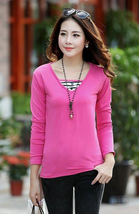 Fashion Milk Silk Layered-look Long Sleeve Blouse (Rose Red)