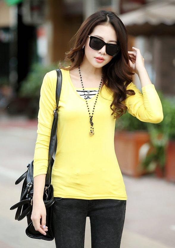 Fashion Milk Silk Layered-look Long Sleeve Blouse (Yellow)