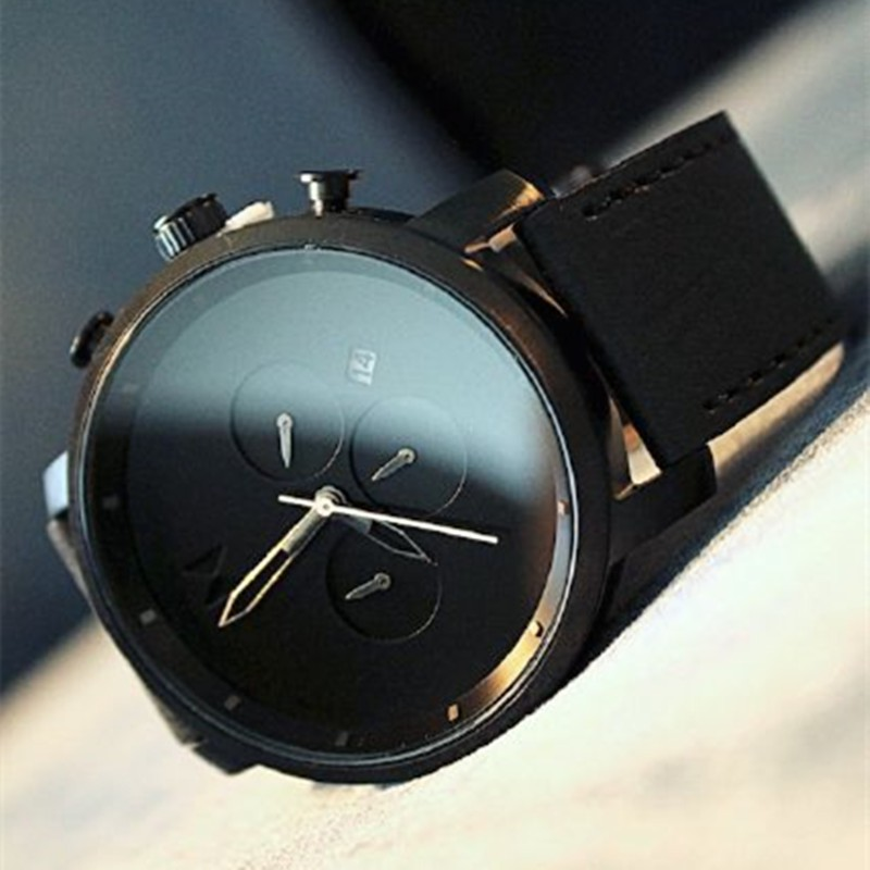 black watches wristwatch men gaiety face casual sport quartz strap item for watch fashion business leather