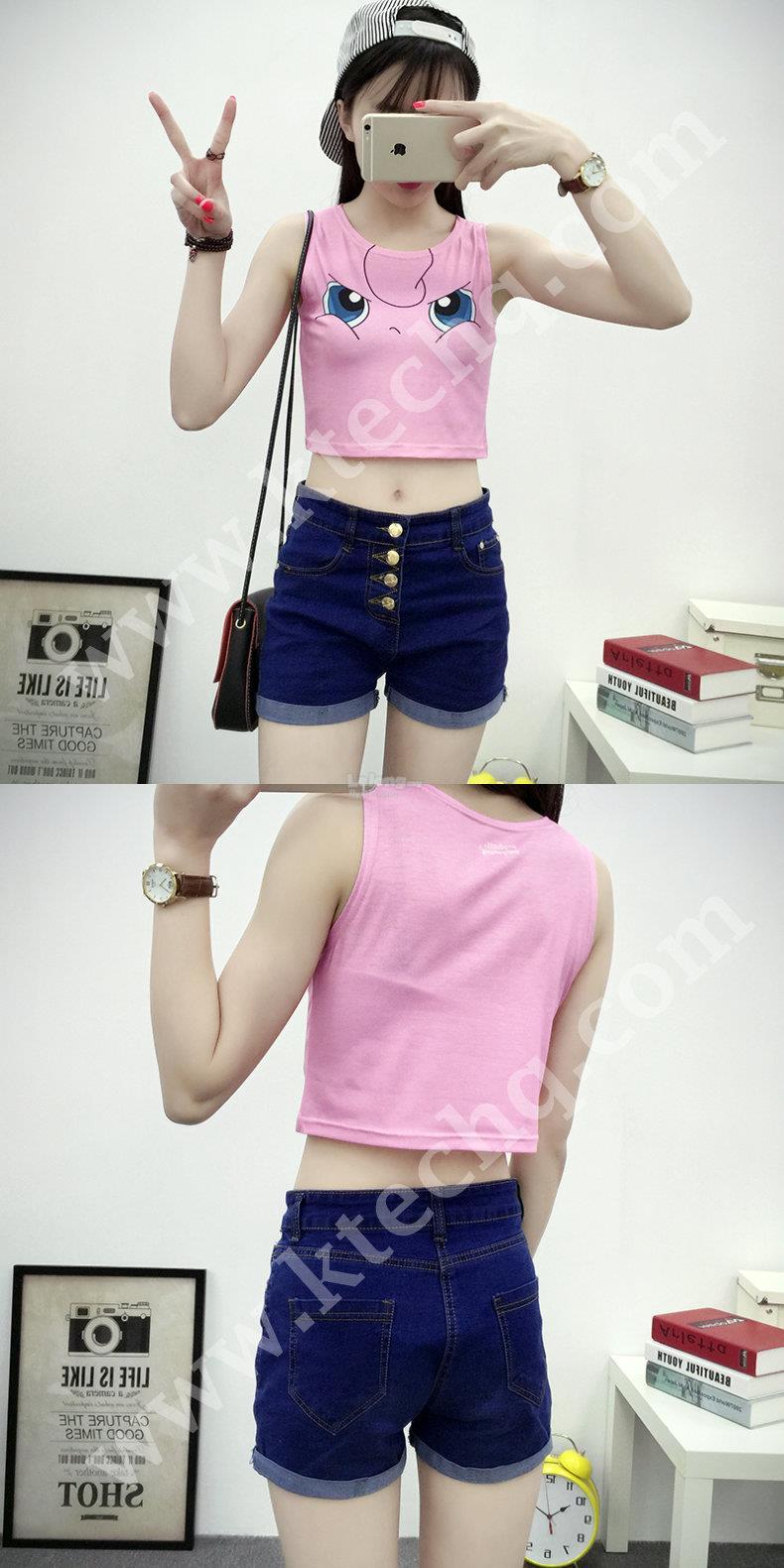 92fa3aff82b44 Fashion Pokemon Go Cartoon Cute Girl T Shirt Sexy - Angry Jigglypuff