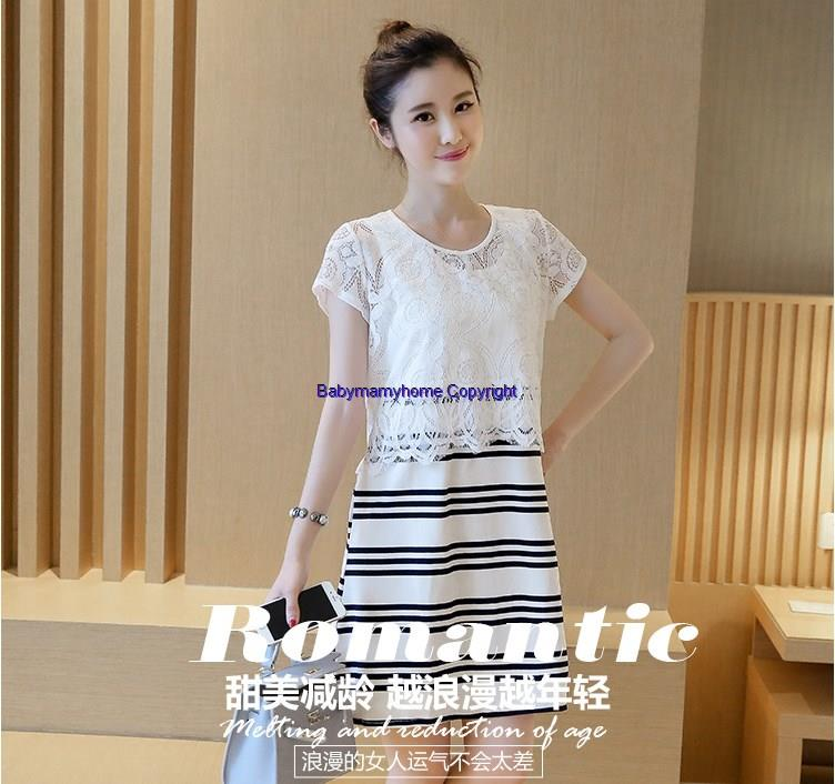 Fashion Pregnant Postpartum Breastfeed Lace+Cotton Short Sleeved Dress