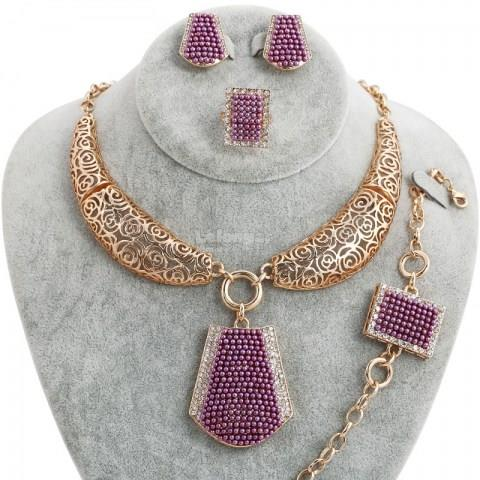 Fashion Purple Gold Crystal Jewelry Set