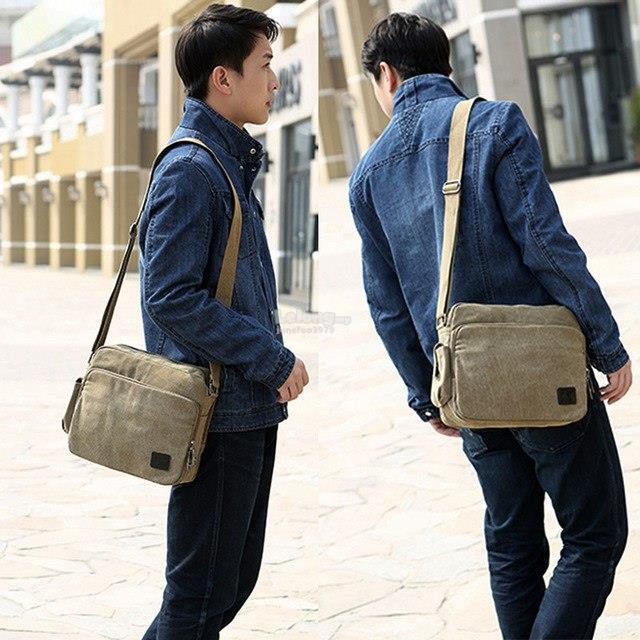 3c09445040c2 Fashion Retro Army Green Canvas Bag Men s Shoulder Bag Male Casual