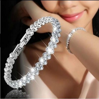 New Fashion Roman Style Woman 925 Sterling Silver Crystal Bracelets