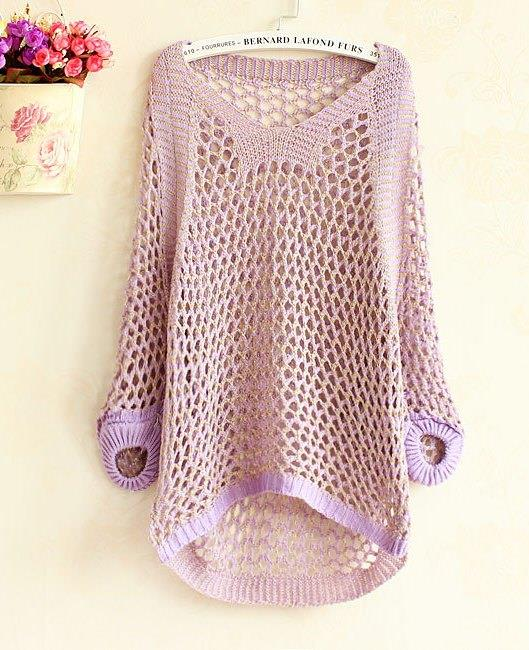 Fashion Shine Loose Long Sleeve Knit Blouse (Purple)