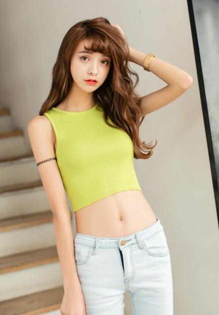 Fashion Short Knit Singlet (Light Green)